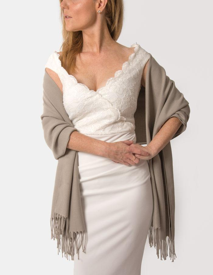 Taupe Wedding Pashmina