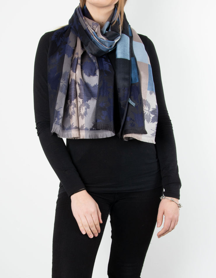 Teal And Gold Leaf Print Patterned Pashmina