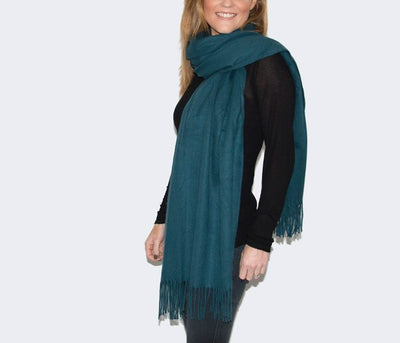 An image showing a teal winter pashmina
