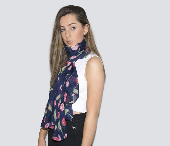 Floral Print Scarf - Tulips - Navy and Red