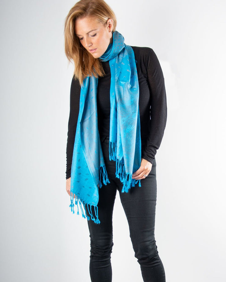 Turquoise Blue And Silver Feather Print Pashmina