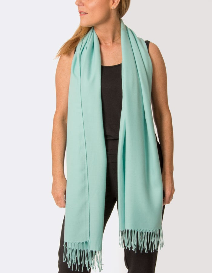 an image showing a turquoise pashmina