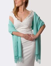 Turquoise Wedding Pashmina - Made In Italy