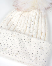 an image showing a white diamante and pearl cashmere bobble hat