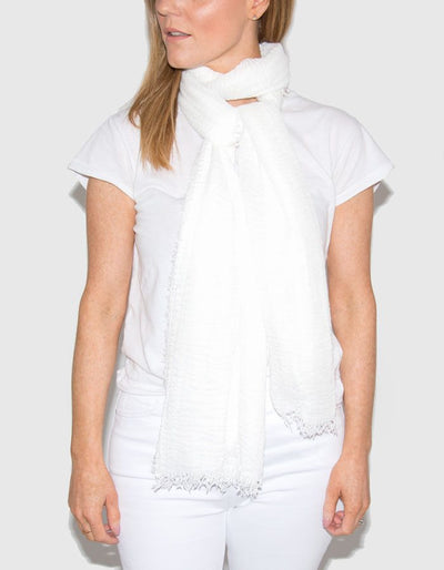 White Cotton Mix Scarf