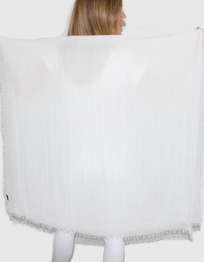 Image Showing White Cotton Mix Scarf