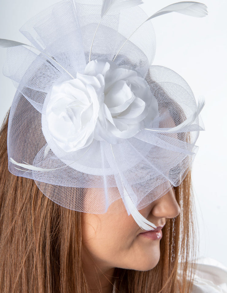 White Double Flower Fascinator