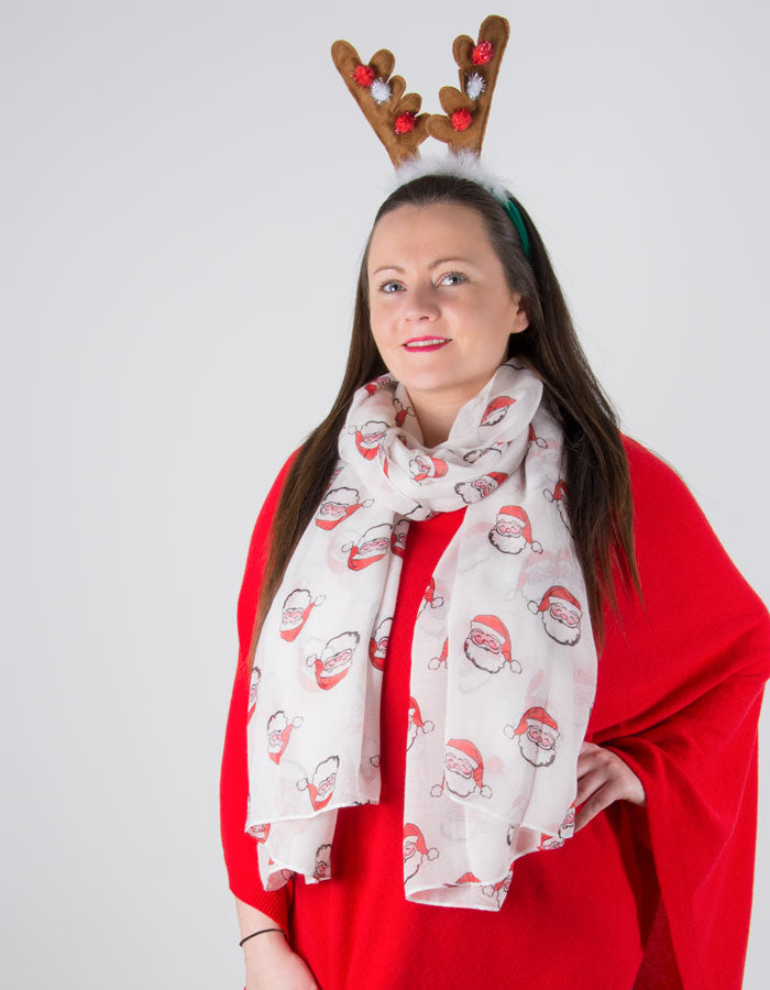 an image showing a White Santa Christmas Scarf