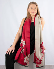 Winter Floral Blanket Scarf | Red