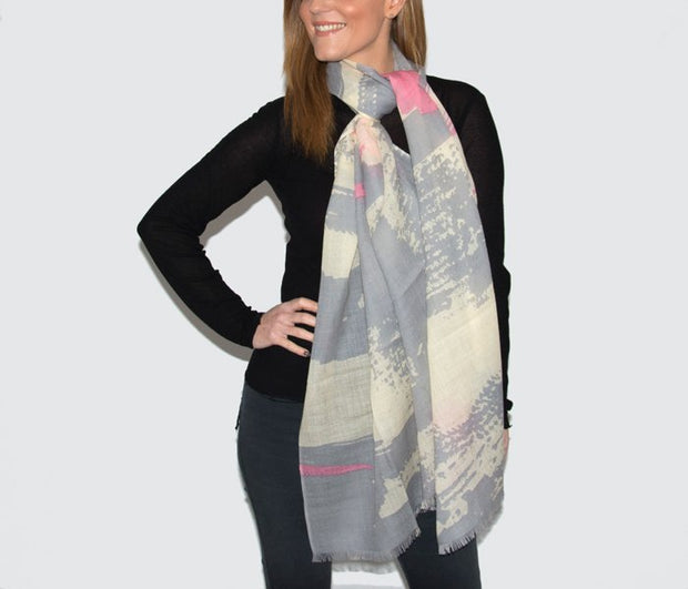 Wool Grey, Pink & Cream Abstract Print Womans Scarf