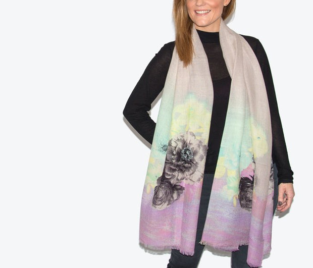 Wool Lilac, Pink, Green & Black Floral Print Womans Scarf