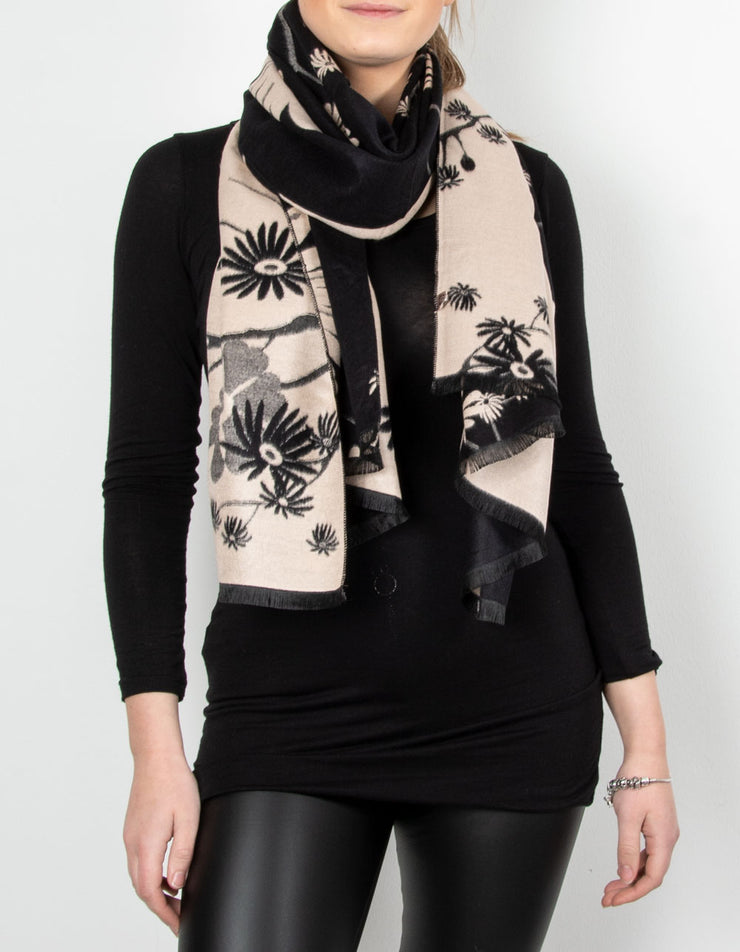 Winter Floral Pashmina | Black & Beige