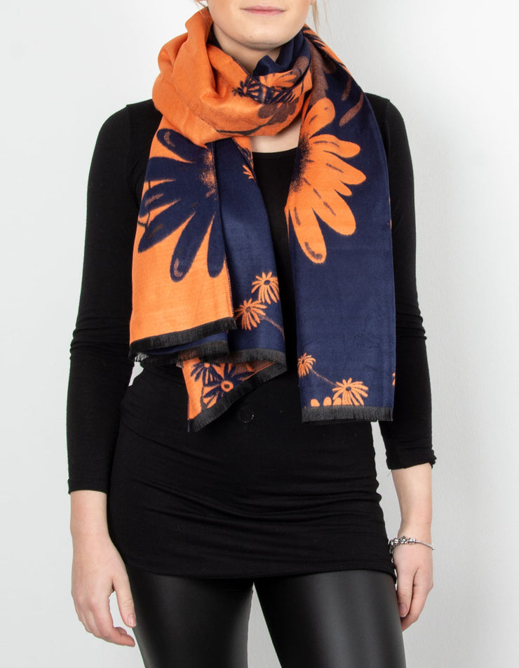 Winter Floral Pashmina | Navy & Orange