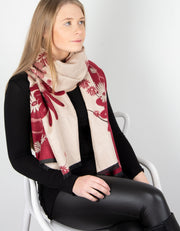 Winter Floral Pashmina | Red & Beige