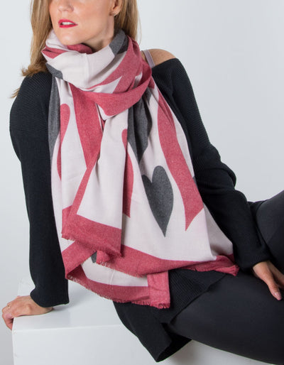 Wool Mix Scarf Heart Print