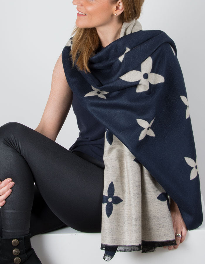 Image showing a Wool Shawl Blue