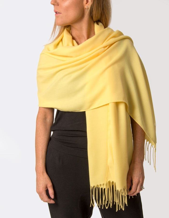 Scarf Room - The No 37 Label Super Soft Lemon Yellow Italian Pashmina Shawl Wrap Scarf_a