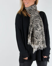 Animal Print Scarf Black Zebra