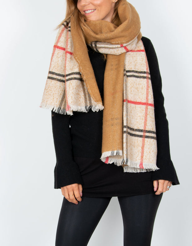 an image showing a beige and red blanket scarf