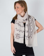 an image showing a Beige Large Owl Scarf
