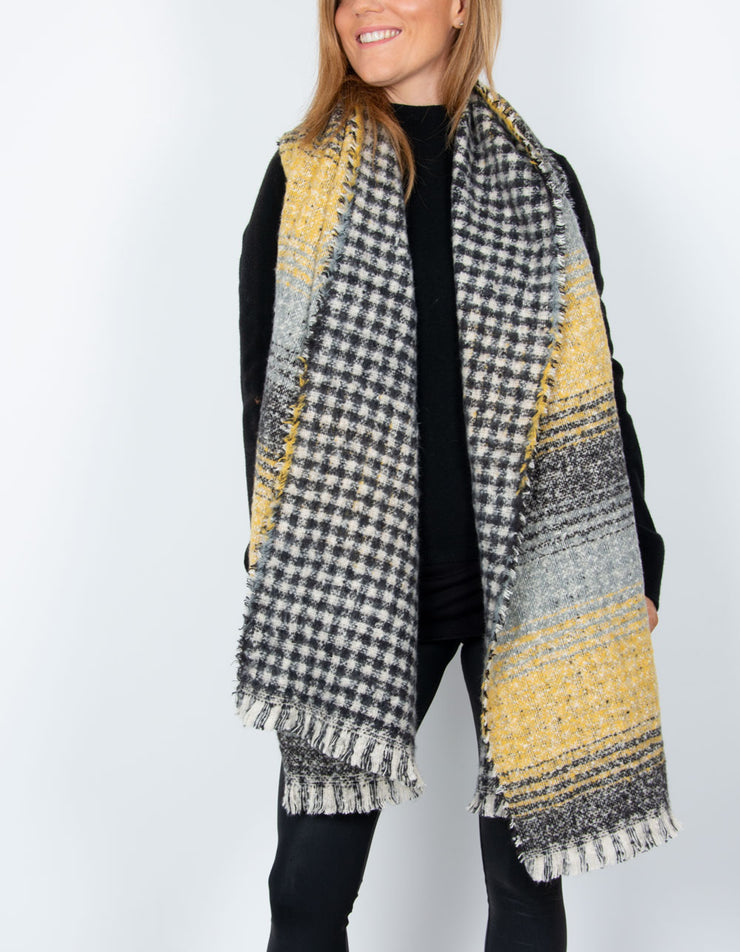 an image showing a black and yellow blanket scarf