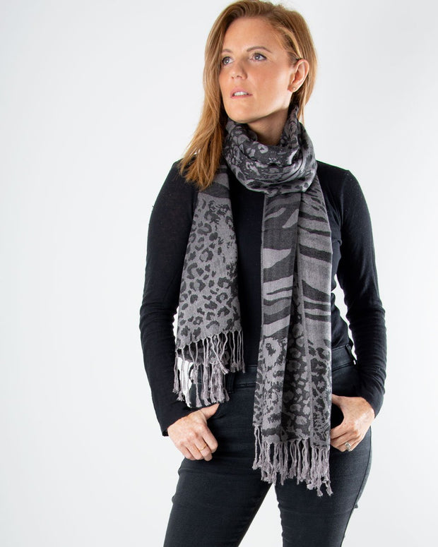 an image showing a black animal print pashmina