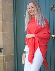 Coral Poncho Cashmere Mix