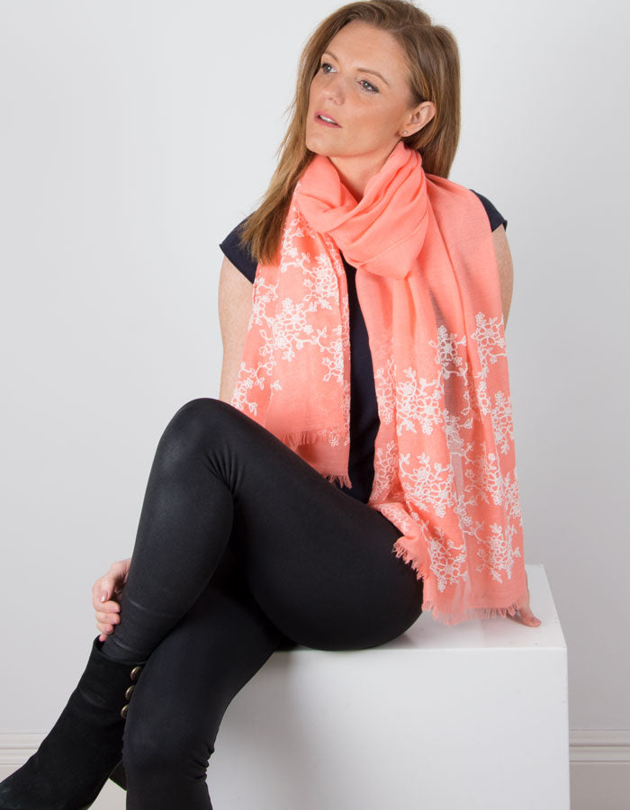an image showing a Coral Scarf Embroidered