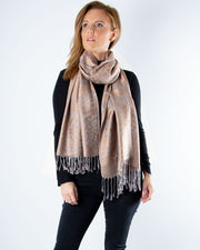Silver And Gold Reversible Animal Print Pashmina