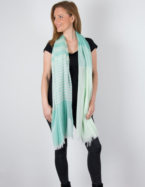 an image showing a Green Scarf Striped