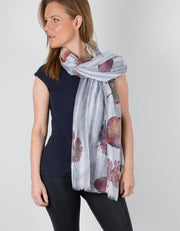 Grey & White Stripes with Rainbow Leaves Scarf