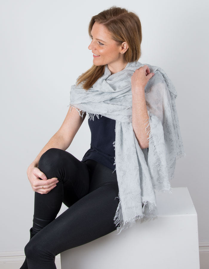 an image showing a Grey Scarf Italian Floral Detail