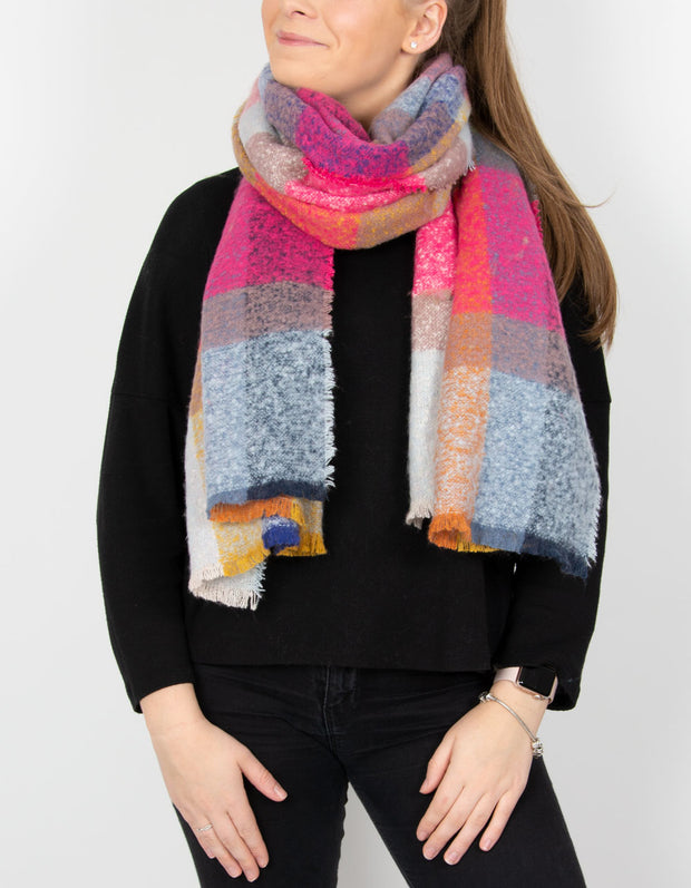 an image showing a multi-coloured blanket scarf