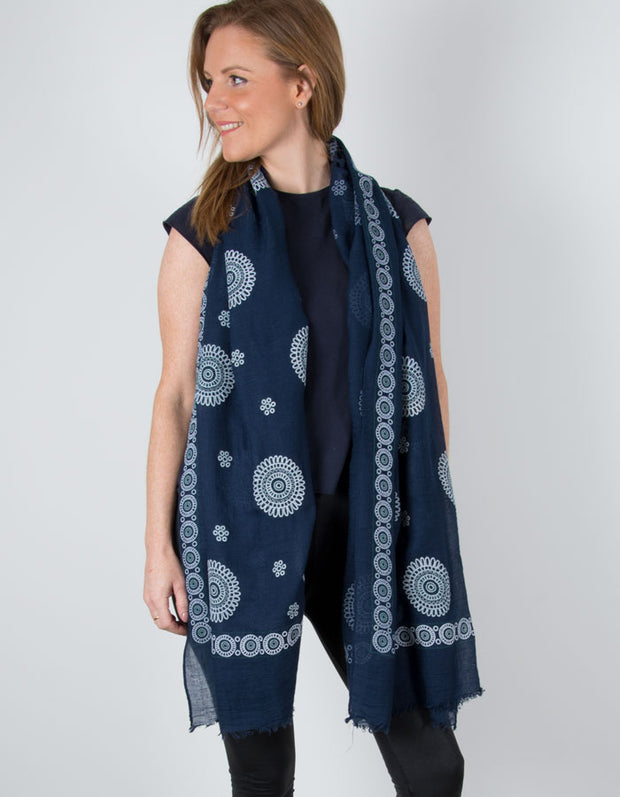 Navy Embroidered Circle Pattern Scarf