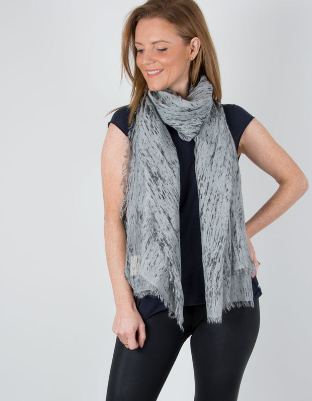 an image showing a Pale Grey Black Abstract Spots Scarf