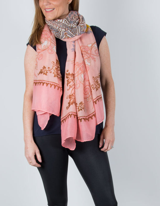 an image showing a Pink Circle Pattern Scarf
