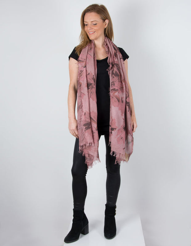 an image showing a Pink Scarf Italian Floral Print