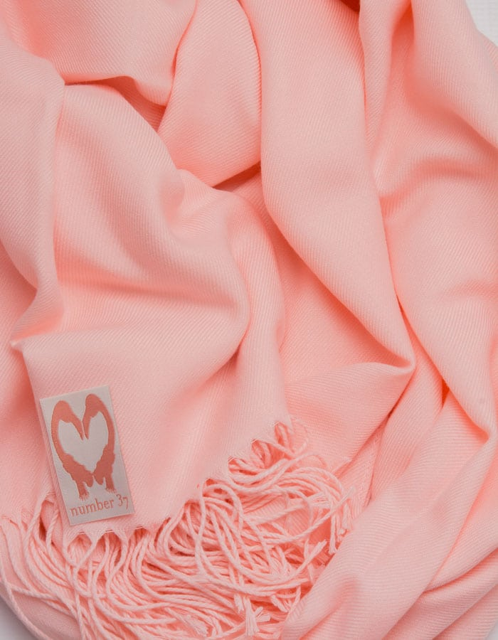 an image showing a close up of a pashmina in Apple Blossom