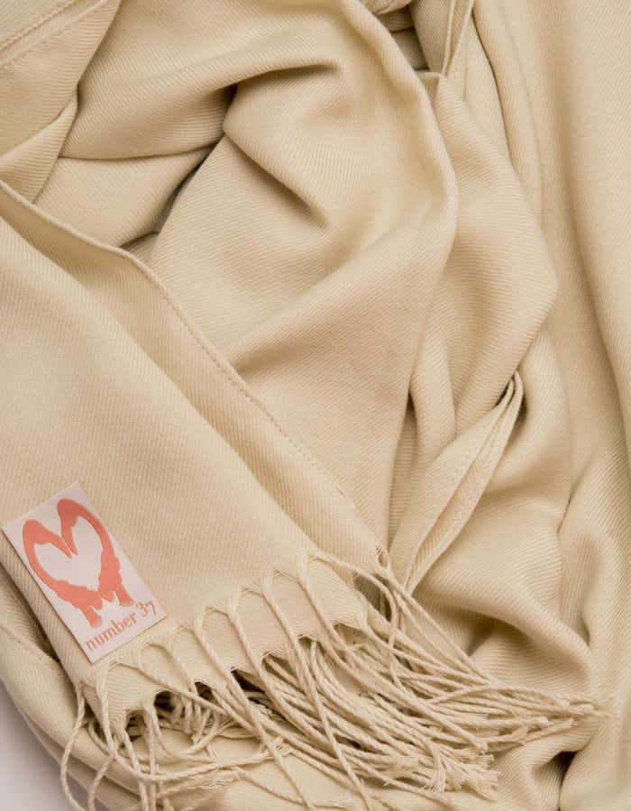 an image showing a close up of a pashmina in Beige
