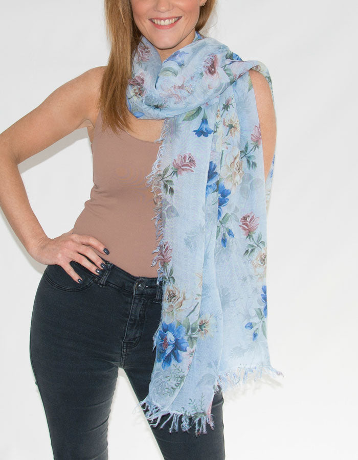 Image showing a blue floral Italian scarf