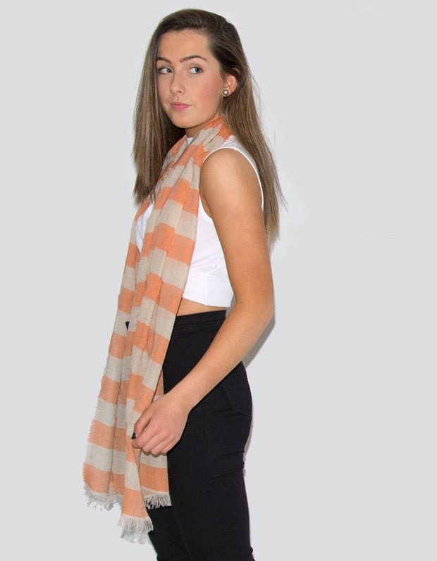 Italian Linen Orange And Beige Stripe Scarf