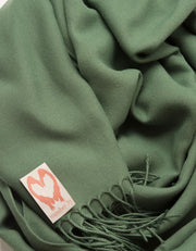 an image showing a close up of a pashmina in Khaki Green