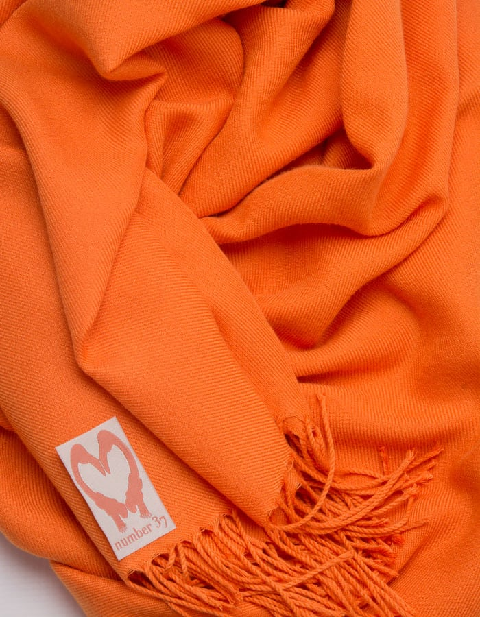 an image showing a close up of a pashmina in orange