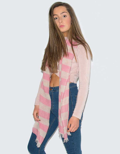 an image showing a pink linen scarf