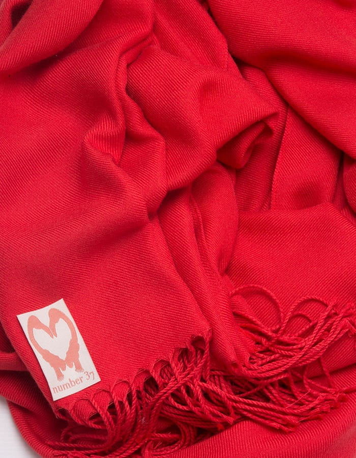 an image showing a close up of a pashmina in Red