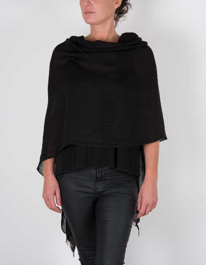 an image showing a black silk wool mix pashmina