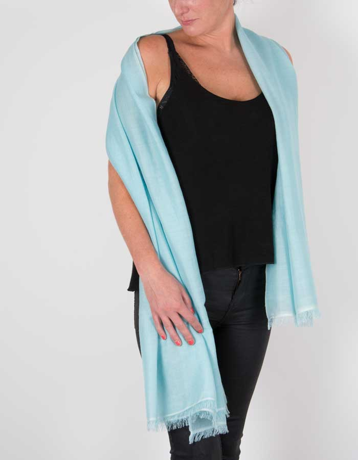 an image showing a silk wool mix pashmina in green