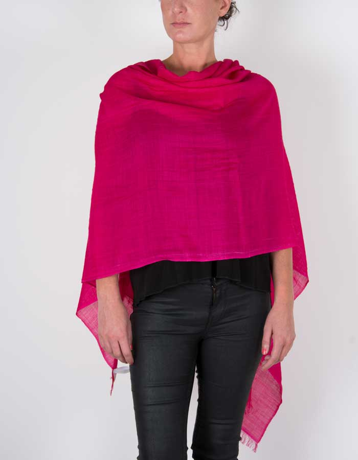 an image showing a silk wool mix pashmina in hot pink