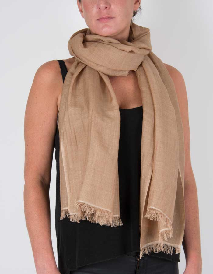 an image showing a silk wool mix pashmina in light brown