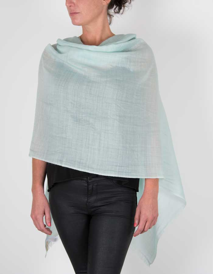 an image showing a merino wool silk mix pashmina in mint green